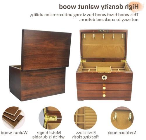 vvhu Wooden with Fingerprint Drawers Jewel Case 3