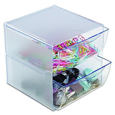 workspace desk craft organizer 2 drawer clear
