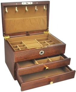 vvhu Wooden Jewelry Box with Fingerprint Lock, 2 Drawers Jew